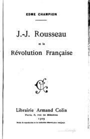 J.-J. Rousseau et la révolution française
