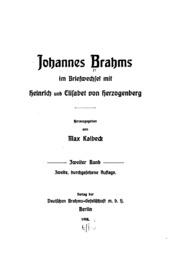 Johannes Brahms im Briefwechsel mit Heinrich und Elisabet von Herzogenberg