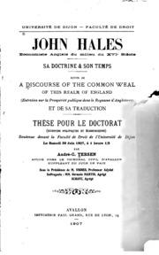 John Hales, économiste anglais du milieu du XVIe siècle: sa doctrine and son ...