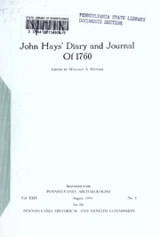 John Hays' diary and journal of 1760 / edited by William A. Hunter.