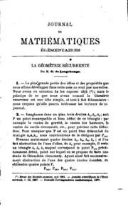 Journal de mathématiques élémentaires et spéciales.