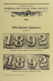 Journal of the Barber Coin Collectors' Society, vol. 12, no. 2