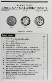 Journal of the Barber Coin Collectors' Society, vol. 2, no. 3