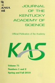 Vol v.71:no.1-2 2010:Spring-Fall: Journal of the Kentucky Academy of Science