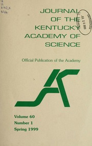 Vol v. 60 no. 1 spring 1999: Journal of the Kentucky Academy of Science