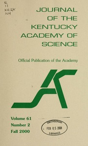 Vol v. 61 no. 2 fall 2000: Journal of the Kentucky Academy of Science