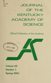 Vol v. 62 no. 1 spring 2001: Journal of the Kentucky Academy of Science