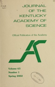 Vol v. 63 no. 1 spring 2002: Journal of the Kentucky Academy of Science