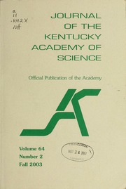 Vol v. 64 :no. 2 2003: fall: Journal of the Kentucky Academy of Science