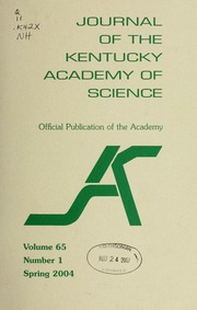Vol v. 65 :no. 1 2004: spring: Journal of the Kentucky Academy of Science