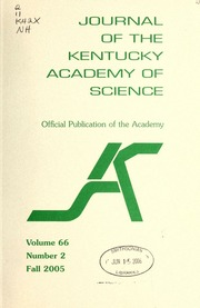 Vol v.66:no.2 2005:Fall: Journal of the Kentucky Academy of Science