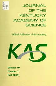 Vol v.70:no.2 2009:Fall: Journal of the Kentucky Academy of Science