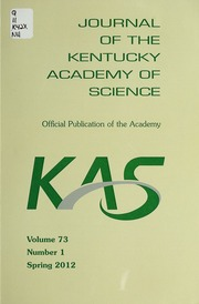 Vol v.73:no.1 2012:Spring: Journal of the Kentucky Academy of Science