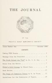 The Journal of the Pacific Coast Numismatic Society: No. 1