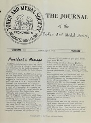 Journal of the Token and Medal Society, Vol. 3, No. 3