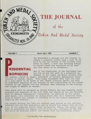 Journal of the Token and Medal Society, Vol. 5, No. 2
