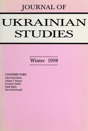 Vol 23, no. 2: Journal of Ukrainian Studies