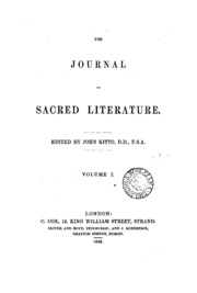 The Journal of Sacred Literature and Biblical Record, October 1859 to January 18