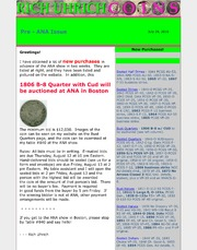 July 2010 - Pre-ANA Issue, 1806 B-8 Quarter w/Cud to be Auctioned at ANA