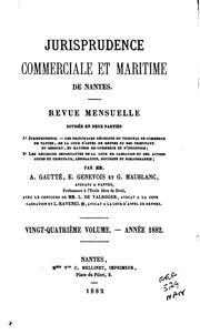 Vol 1882: Jurisprudence commerciale et maritime de Nantes: revue mensuelle, ...