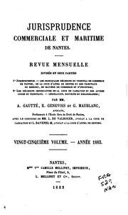 Jurisprudence commerciale et maritime de Nantes: revue mensuelle, ...