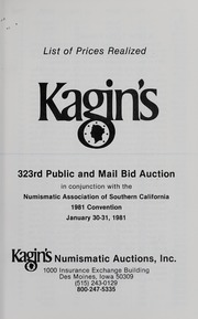 Kagin's 323rd Sale: Numismatic Association of Southern California