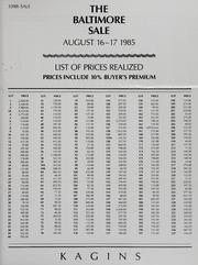 Kagin's 339th Sale: The Baltimore Sale