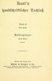 Vol XV: Kant-s gesammelte schriften
