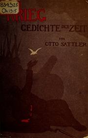 Krieg Gedichte Der Zeit Von Otto Sattler Sattler Otto
