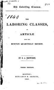 orestes brownson the laboring classes summary