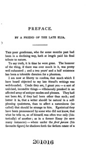 """last essay of elia The absence of the """"confessions of a drunkard"""" from this volume is due to the fact that lamb did not include it in the first edition of the last essays of elia it was inserted later, in place of """"a death–bed,"""" on account of objections that were raised to that essay by the family of randal norris."""
