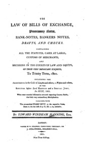 The law of bills of exchange promissory notes bank notes bankers the law of bills of exchange promissory notes bank notes bankers notes drafts and checks edward windham manning free download borrow and thecheapjerseys Gallery