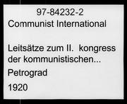 Leitsätze zum II. kongress der kommunistischen internationale microform
