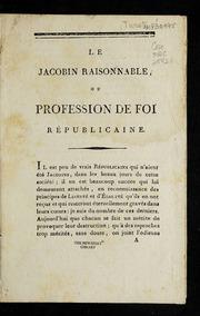 Le Jacobin raisonnable, ou, Profession de foi républicaine.