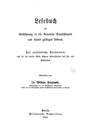 Lesebuch zur Einführung in die Kenntnis Deutschlands und seines geistigen Lebens.: FUr ausla ...