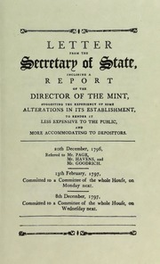 Letter from the Secretary of State, inclosing a report of the Director of the Mint