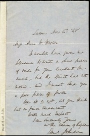 Letter to] Miss Anne W. Weston [manuscript
