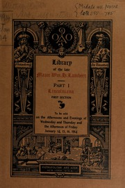 Library of the late major William H. Lambart ... [01/14/1914]