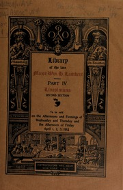 Library of the late major William H. Lambart ... [04/01/1914]