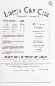 Lincoln Coin Club Newsletter: Fall 1993