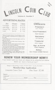 Lincoln Coin Club Newsletter: Winter 1996