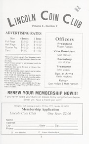Lincoln Coin Club Newsletter: Fall 1997