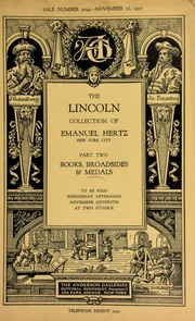 The Lincoln collection formed by Emanuel Hertz ... [11/16/1927]