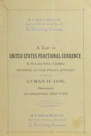A List of United States Fractional Currency [Fixed Price List]