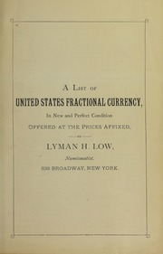 A List of United States Fractional Currency Offered at Prices Affixed