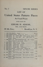 List of United States Pattern Pieces At Fixed Prices: No. 1, Minor Series
