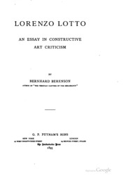 lorenzo lotto an essay in constructive art criticism Find great deals for lorenzo lotto an essay in constructive art criticism by bernard berenson shop with confidence on ebay.