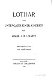 Lothar; oder, Untergang einer Kindheit...
