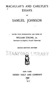 macaulay s and carlyle s essays on samuel johnson macaulay  macaulay s and carlyle s essays on samuel johnson