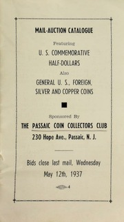 Mail-auction catalogue, featuring U.S. commemorative half-dollars, also general U.S., foreign, silver and copper coins ... [05/12/1937]